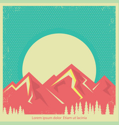 mountains landscape retro background for text vector image vector image
