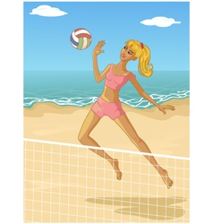 Young woman playing beach volleyball vector image vector image