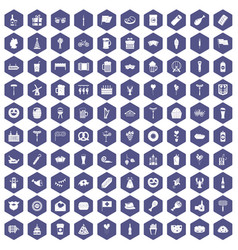 100 beer party icons hexagon purple vector