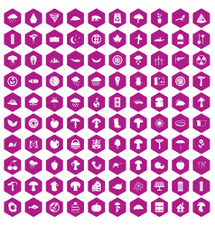 100 mushrooms icons hexagon violet vector