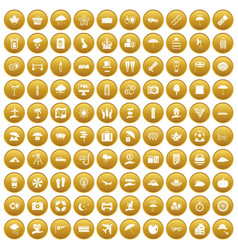 100 umbrella icons set gold vector