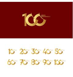 100 years anniversary set 10 20 30 40 50 60 70 80 vector
