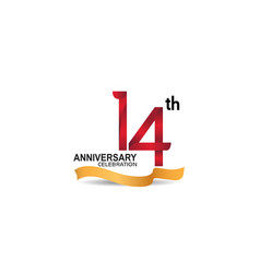 14 anniversary design logotype red color vector