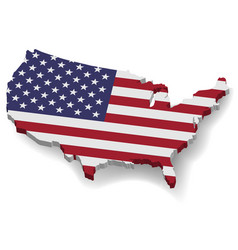 3d united states america map with flat flag vector