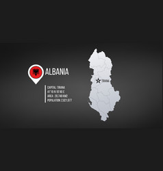 albania map high detailed with tirana star vector image