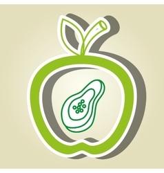 apple fruit with papaya isolated icon design vector image