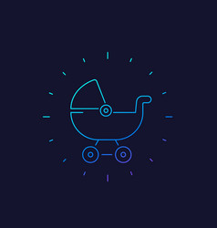 baby carriage icon linear vector image