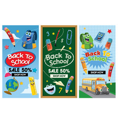Back to school flyer set collection vector