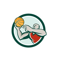 Basketball Player Lay Up Ball Circle Retro vector