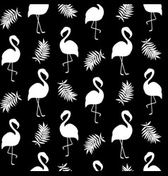 Beautiful seamless pattern with black flamingo vector