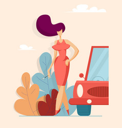 beautiful woman in red dress next to the car vector image