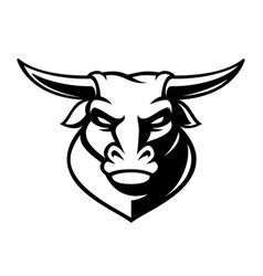 black and white emblem of a bull vector image