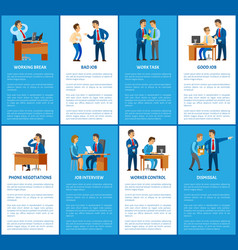 boss and work in business company posters set vector image