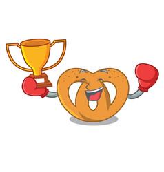 boxing winner pretzel mascot cartoon style vector image