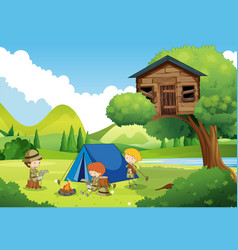 Boyscouts camping in woods vector
