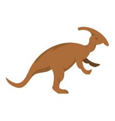 Brown parazavrolofus dinosaur icon isolated vector
