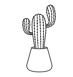 Cactus and succulent line style vector