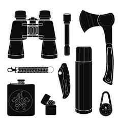 Camping equipment silhouettes set vector image