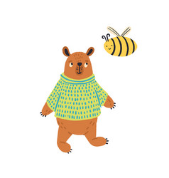 cartoon colorful bear in jumper standing with bee vector image