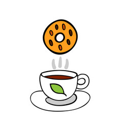 cartoon cookie and cup of tea isolated on white vector image