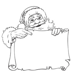 cartoon santa claus pointing to blank empty vector image