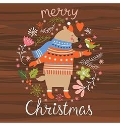 Christmas cute bear and little bird vector image