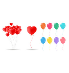 collection 3d realistic helium balloons vector image