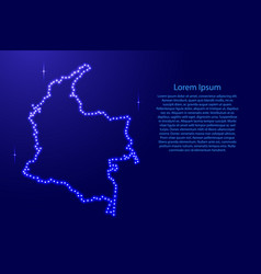colombia map from luminous blue star space points vector image