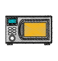 color crayon stripe cartoon microwave oven element vector image