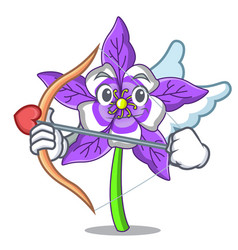 Cupid columbine flower character cartoon vector
