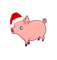 Cute piglet with a santas hat on walking vector