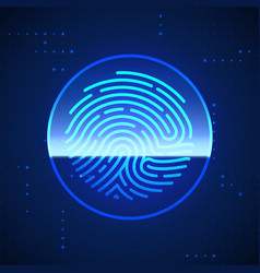 cyber security finger print scanned fingerprint vector image