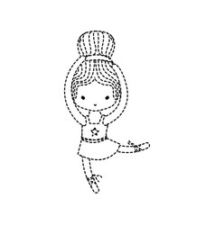 Dotted shape girl dancing ballet with hair bun vector