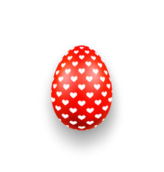 Easter egg 3d icon cute red egg hearts isolated vector
