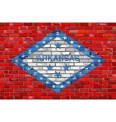 Flag of Arkansas on a brick wall vector