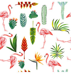 flamingo leaves flowers seamless white background vector image