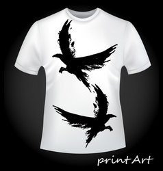 flying birds - print on a t-shirt vector image