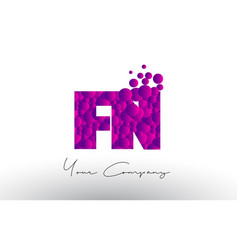 fn f n dots letter logo with purple bubbles vector image