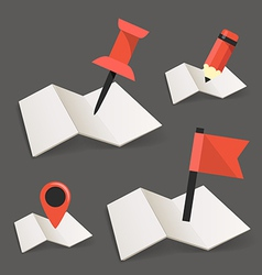 Folded maps with point markers vector