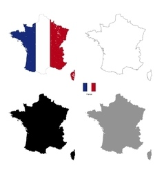 France country black silhouette and with flag on vector image