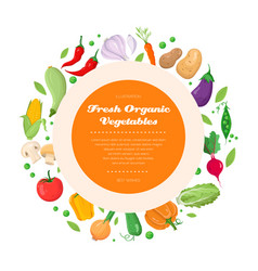 Fresh organic vegetables - modern colorful vector