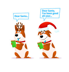 funny cartoon dog set xmas flat character terrier vector image