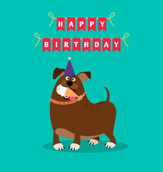 funny dog and ice cream card vector image