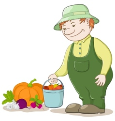 gardener with vegetables vector image
