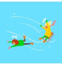 Girls Sledging Winter vector