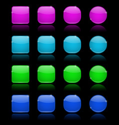 Glass buttons set collection of colored 3d icons vector