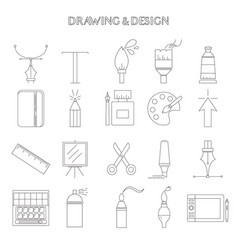 graphic design and drawing icons vector image