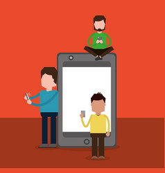 group of people using smartphone and big mobile vector image