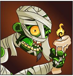 halloween horror mummy character with a candle vector image