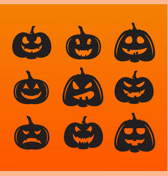 halloween pumpkins in with set different vector image